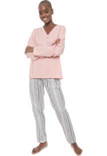Pijama Pzama Listrado Cinza/Rosa