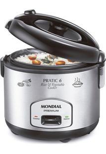 Panela Elétrica Mondial Pratic Rice & Vegetables Cooker 6 Premium Pe-02 Panela Eletrica Arroz-220V-Preto/Inox