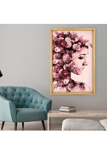 Quadro Com Moldura Chanfrada Mulher Com Rosas Madeira Clara - Médio