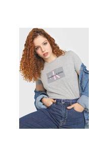 Camiseta Calvin Klein Jeans Issue Retângulo Cinza