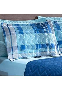 Porta Travesseiro Matelasse 260 Fios Zig Zag Xadrez Blue