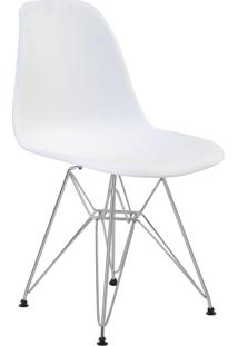 Cadeira Eiffel Sem Br Branca Base Cromada Rivatti Móveis