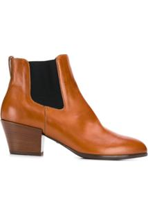 Hogan Contrast Panel Ankle Boots - Marrom