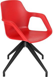 Cadeira De Cozinha Giratória Beau Com Braço Vermelha E Preta