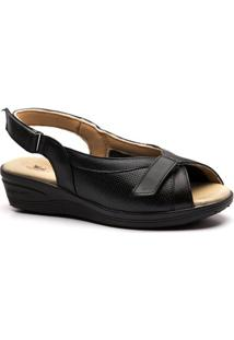 Sandália Anabela 196 Em Couro Doctor Shoes - Feminino-Preto