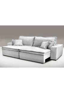 Sofa Retrátil E Reclinável Com Molas Cama Inbox Premium 2,52M Tecido Em Linho Cinza Claro