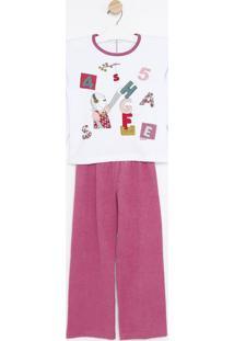 Pijama Manga Longa & Calã§A- Branco & Rosasonhart