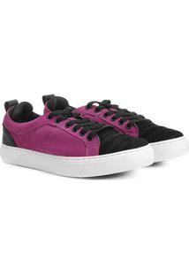 Tênis Couro Hardcore Footwear Cadarço Feminino - Feminino-Preto+Rosa Escuro