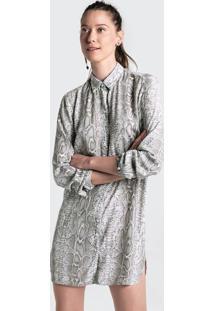 Camisa Alongada Em Tecido De Crepe Animal Print