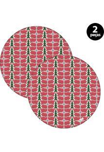 Sousplat Mdecore Natal Pinheiros 32X32Cm Vermelho 2Pçs