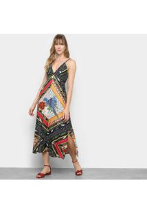 Vestido Longo Farm Lenço Ararinha - Feminino-Estampado