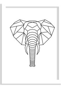 Quadro Decorativo Line Drawing Elefante Branco - Grande