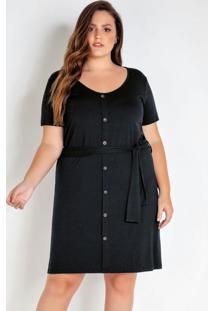 Vestido Plus Size Preto Com Botões