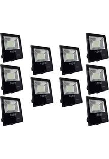 Refletor Led 100W Smd Holofote Bivolt Prova D´Água Branco Quente Kit 2