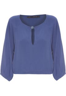 Blusa Feminina Cropped Ponteira Resina - Azul
