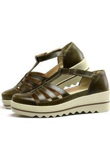 Sandália Plataforma Em Couro Sapatofran Com Velcro Feminina - Feminino-Cinza