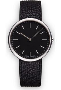 Uniform Wares Relógio 'M35 Two-Hand' De Couro E Aço Inoxidável - Preto