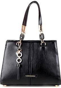 Bolsa Couro Jorge Bischoff Tote Shopper Lisa Com Charm Bag Feminina - Feminino-Preto