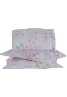 Conjunto De Colcha Aretha Floral Casal- Branco & Rosa