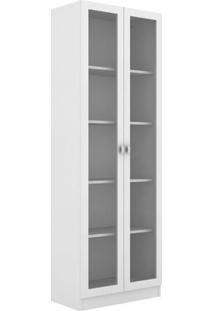 Estante Livreiro Com 2 Portas De Vidro Sitin Branco - Casabras