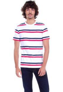 Camiseta Levis Logo Stripped Listrada - Masculino-Branco+Vermelho