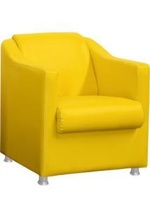 Poltrona Decorativa Tilla Pés Cromado Corino Amarela - Ds Móveis - Kanui