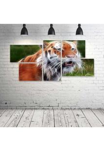 Quadro Decorativo - Tiger-Neon - Composto De 5 Quadros - Multicolorido - Dafiti
