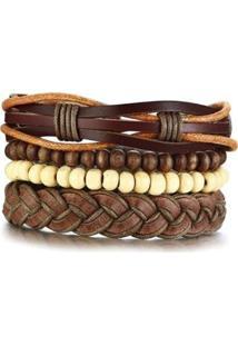 Bracelete Artestore Em Couro Pulseira 4 Em 1 Masculina - Masculino-Marrom