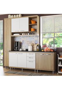 Cozinha Compacta 8 Portas Sicília Com Tampo 5813 Branco/Argila - Multimóveis