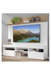 "Rack Com Painel Tv 65"" Madri Multimóveis E Prateleira Branco/Rustic"