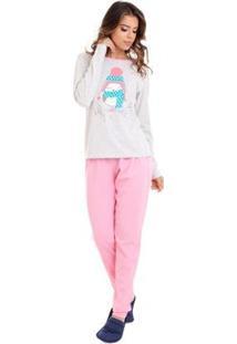 Conjunto De Pijama Longo Luna Cuore Feminino - Feminino-Rosa