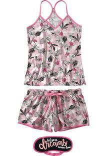 Pijama Rosa Claro Flamingos Feminino