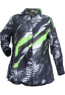 Camisa Casual Seda Belizze Plus Size Feminina - Feminino-Preto