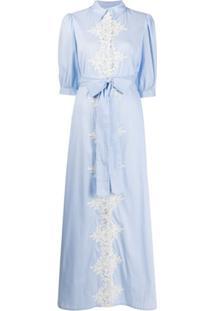 Blumarine Floral Lace Maxi Dress - Azul