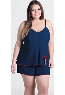Baby Doll Azul Marinho Plus Size Com Fenda