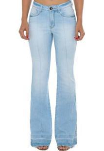 47f2b6d38 ... Calça Jeans Denuncia Mid Rise Flare Feminina - Feminino-Azul Claro