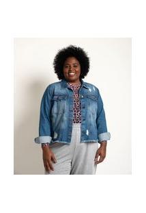 Jaqueta Jeans Com Puídos E Barra Desfiada Curve & Plus Size | Ashua Curve E Plus Size | Azul | G1