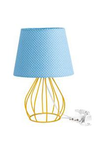 Abajur Cebola Dome Azul/Bolinha Com Aramado Amarelo