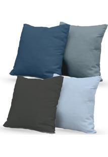 Kit 4 Capas De Almofadas Decorativas Own Lisas Azul E Cinza 45X45 - Somente Capa