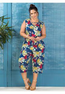 Macacão Pantacourt Marguerite Plus Size Floral