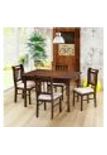 Sala De Jantar Kingston Mesa 120Cm E 4 Cadeiras - Acabamento Verniz Pu - Madeira Maciça - Castanho