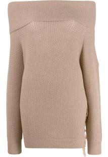 Stella Mccartney Off-Shoulders Fringed Knitted Sweater - Neutro