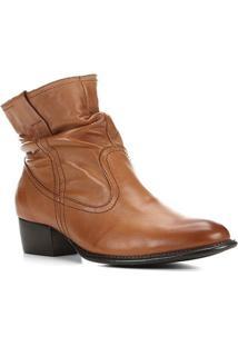 Bota Couro Shoestock Slouch Cano Curto Feminina - Feminino-Caramelo
