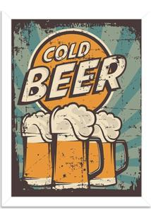Quadro Decorativo Retrô Cold Beer Branco - Grande