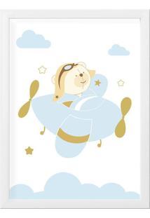 Quadro Urso Aviador Azul Bebê Moldura Mdf 34Cm Grão De Gente Azul