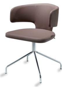Cadeira Hug Slim Assento Estofado Linho Trufa Com Base Cromada - 46888 Sun House