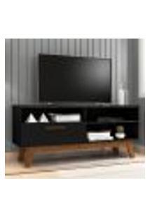 Rack Para Tv Com Porta Riane Preto Fosco