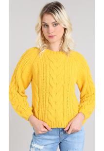 Suéter Feminino Em Tricô Decote Redondo Amarelo