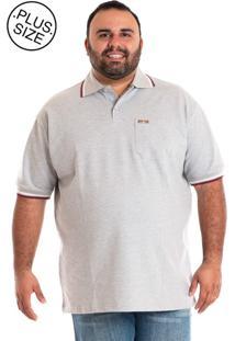 Camisa Pólo Cinza Plus Size masculina  52a0ff8e7ed3b