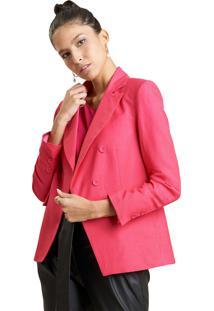 Blazer Mx Fashion Alfaiataria De Linho Polyanna Rosa - Kanui